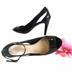 FRANCO SARTO Shoes Black Patent Heel Open Peep Toe